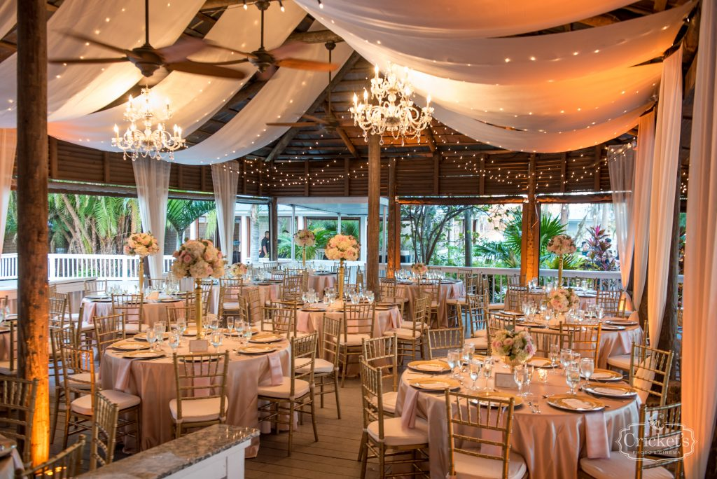 Drapery over Reception Dining Room | Classic Pink & White Beach Wedding Paradise Cove Lakeside Orlando Anna Christine Events Cricket's Photography