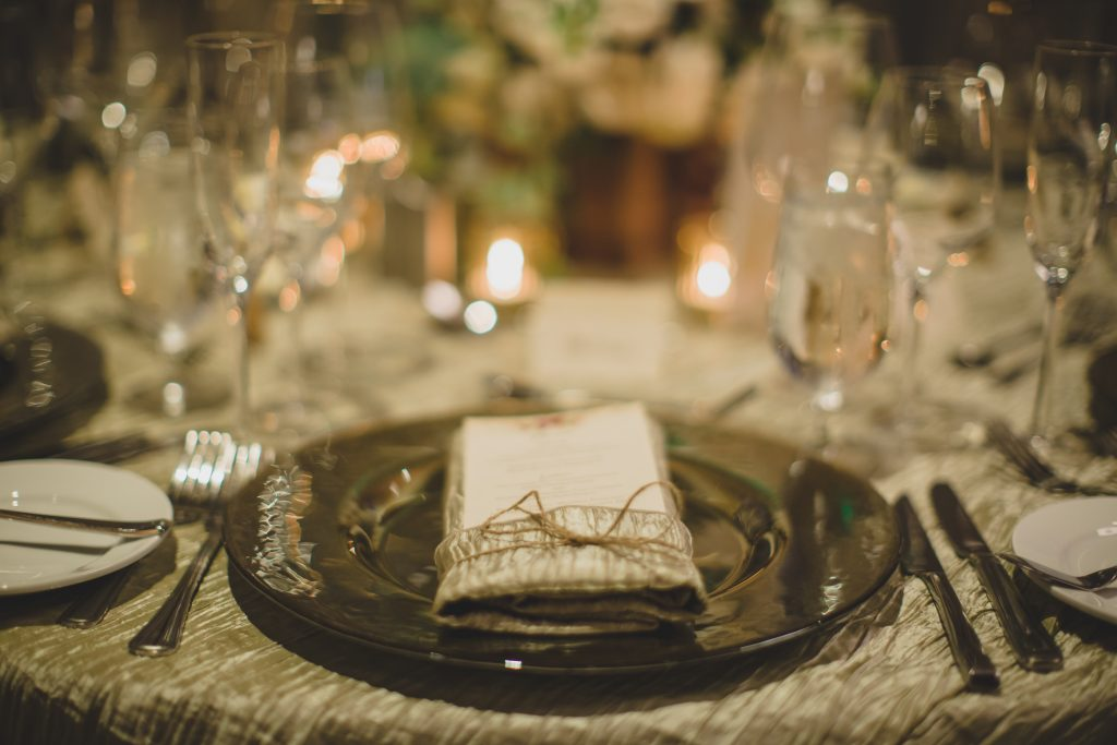 Table setting at reception dinner | Rustic Chic Wedding Romantic Ashley Jane Photography Streamsong Resort Florida Orlando Wedding Planner Anna Christine Events