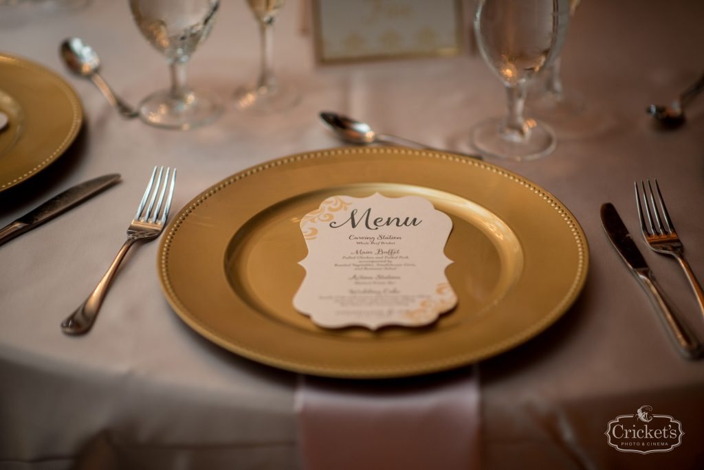 Menu on Plate Reception | Classic Pink & White Beach Wedding Paradise Cove Lakeside Orlando Anna Christine Events Cricket's Photography