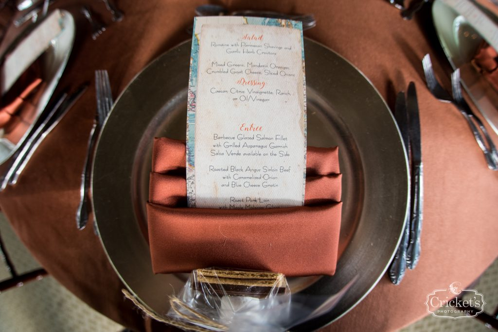 Reception Tables Menu Dinner | Travel Themed Inspired Wedding Mission Inn Resort Orlando Florida Anna Christine Events Cricket's Photo & Cinema