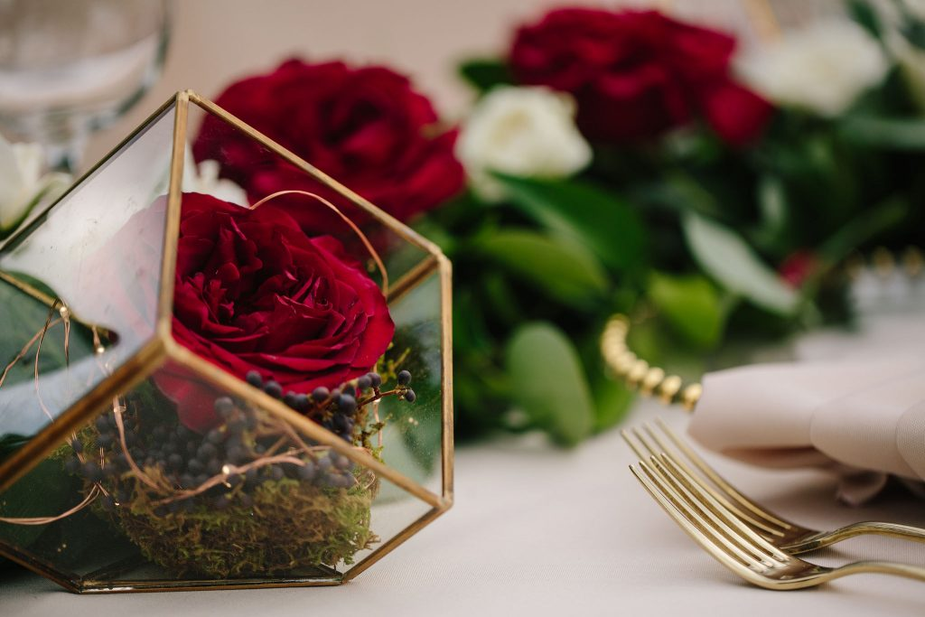 Geometric Flower Centerpiece Rose | Romantic Red & White Capen House Wedding Geometric Gold Anna Christine Events J Lebron Photography