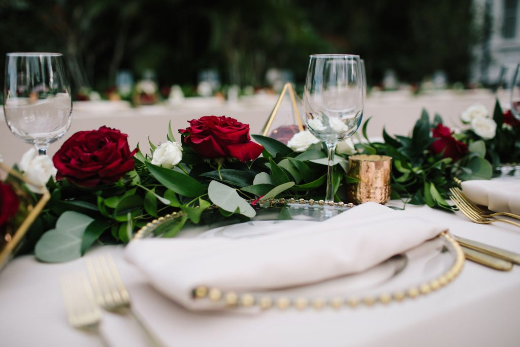 Floral Centerpiece Roses | Romantic Red & White Capen House Wedding Geometric Gold Anna Christine Events J Lebron Photography