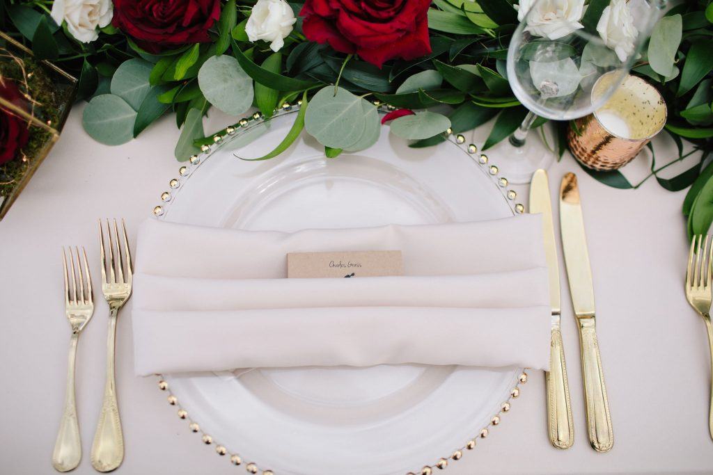 Napkin Folding Table Places | Romantic Red & White Capen House Wedding Geometric Gold Anna Christine Events J Lebron Photography