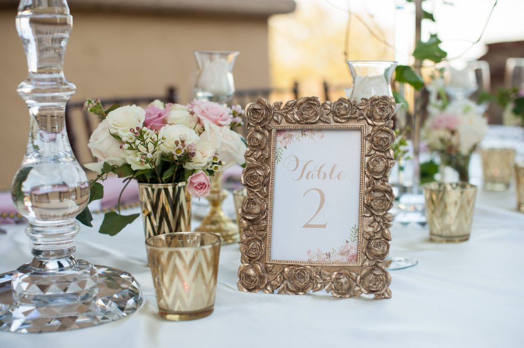 Table number gold frame | Classic Pink and White Wedding Bella Collina Kathy Thomas Photography Anna Christine Events