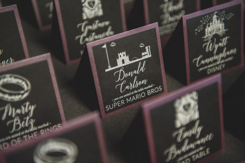 Place cards Super Mario Bros table | Nerd Geek Chic Wedding Theme Game of Thrones Harry Potter Super Mario Orlando Science Center Anna Christine Events Orlando Wedding Planner Ashley Jane Photography