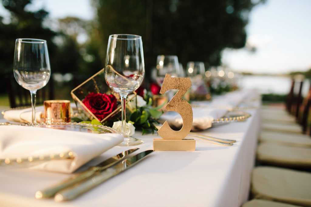 Gold Table Numbers | Romantic Red & White Capen House Wedding Geometric Gold Anna Christine Events J Lebron Photography