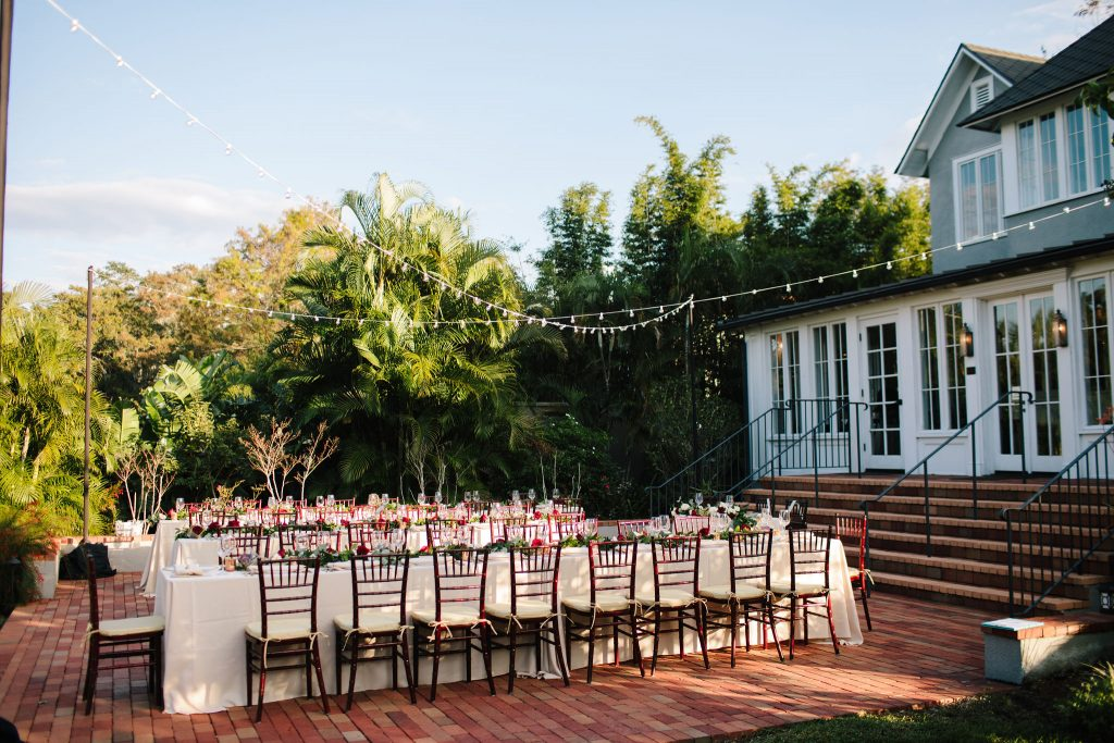 Long Table Reception | Romantic Red & White Capen House Wedding Geometric Gold Anna Christine Events J Lebron Photography