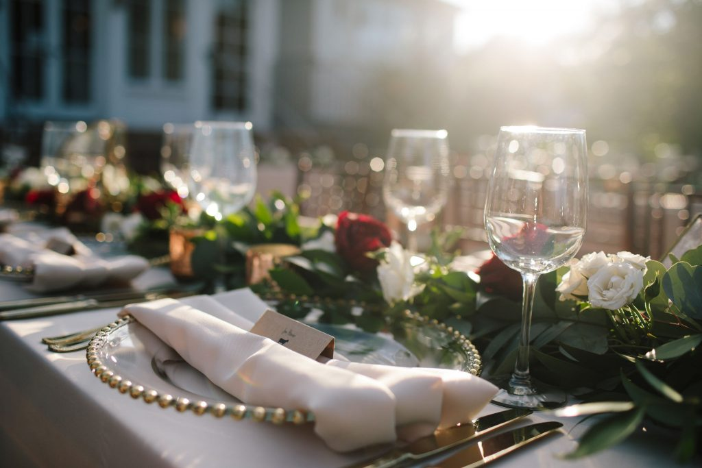 Napkin Table Place | Romantic Red & White Capen House Wedding Geometric Gold Anna Christine Events J Lebron Photography