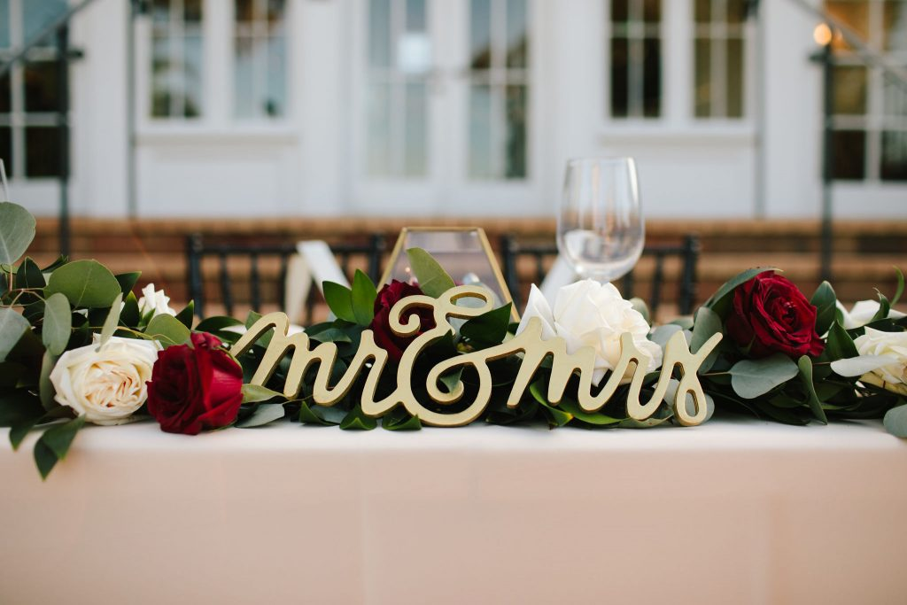 Mr & Mrs Sweetheart Table | Romantic Red & White Capen House Wedding Geometric Gold Anna Christine Events J Lebron Photography