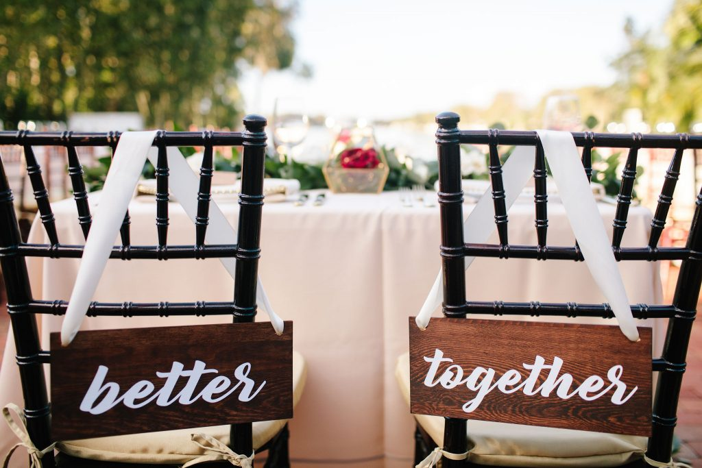Better Together Signs Bride & Groom Reception | Romantic Red & White Capen House Wedding Geometric Gold Anna Christine Events J Lebron Photography
