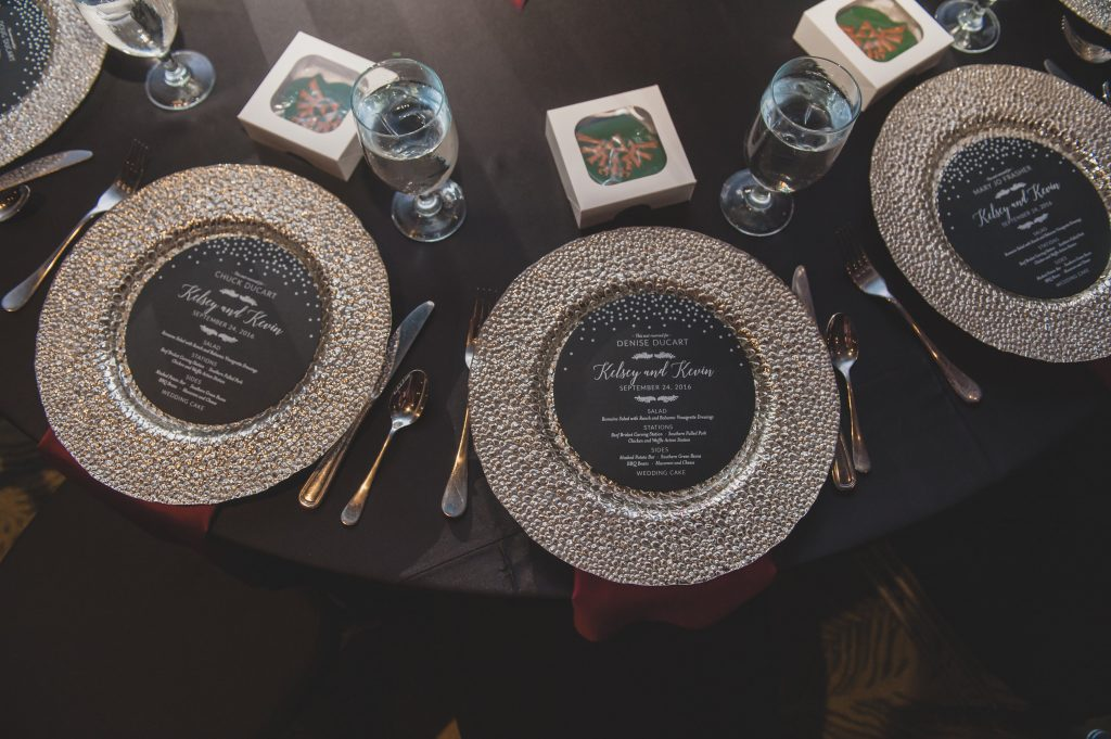 Table place settings | Nerd Geek Chic Wedding Theme Game of Thrones Harry Potter Super Mario Orlando Science Center Anna Christine Events Orlando Wedding Planner Ashley Jane Photography