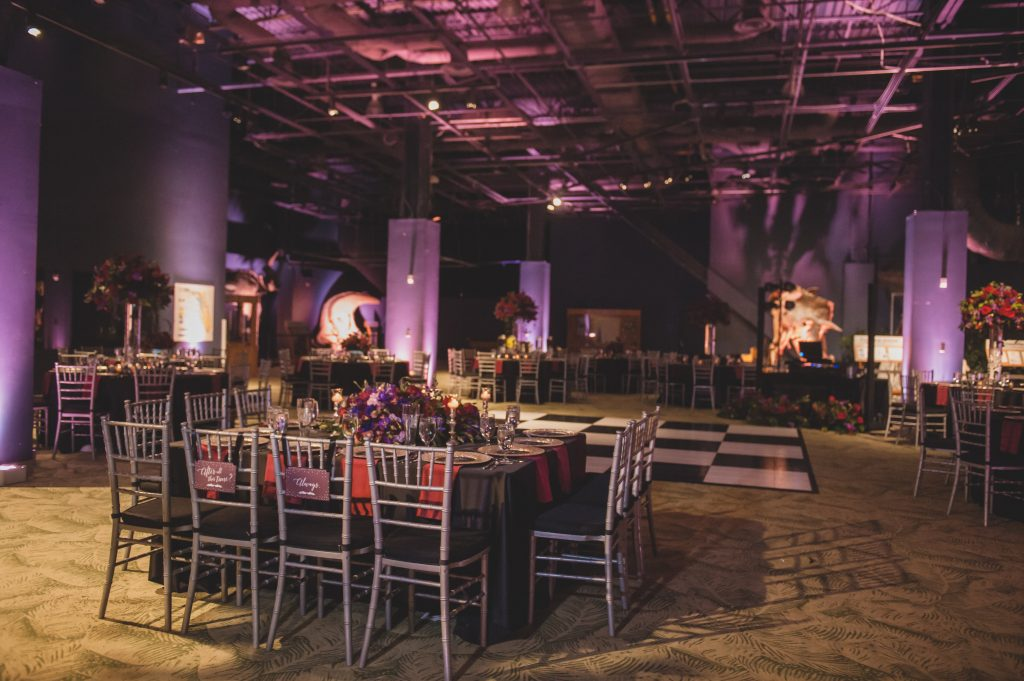 Room shot reception dinner | Nerd Geek Chic Wedding Theme Game of Thrones Harry Potter Super Mario Orlando Science Center Anna Christine Events Orlando Wedding Planner Ashley Jane Photography