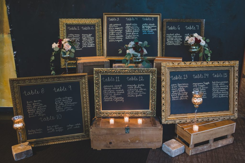 Seating chart on blackboard | Rustic Chic Wedding Romantic Ashley Jane Photography Streamsong Resort Florida Orlando Wedding Planner Anna Christine Events