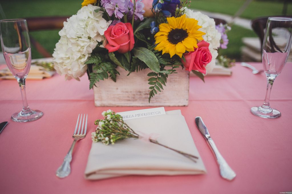 Table setting Backyard tent reception | Bright Backyard Wedding Colorful Knowles Chapel Lora Rodgers Photography Anna Christine Events