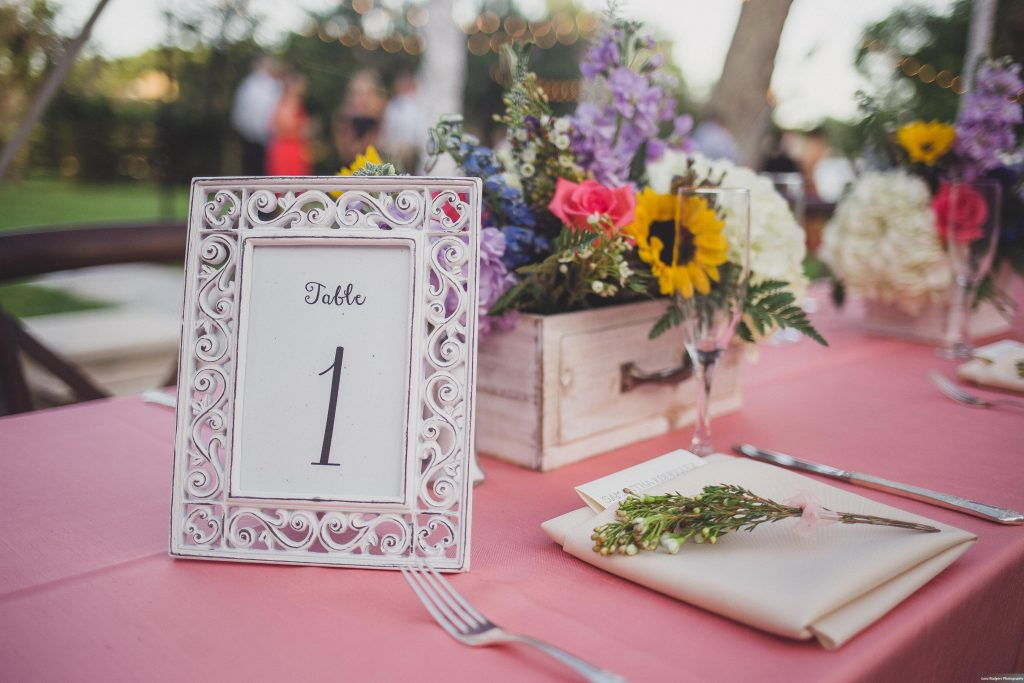 Table number Backyard tent reception | Bright Backyard Wedding Colorful Knowles Chapel Lora Rodgers Photography Anna Christine Events