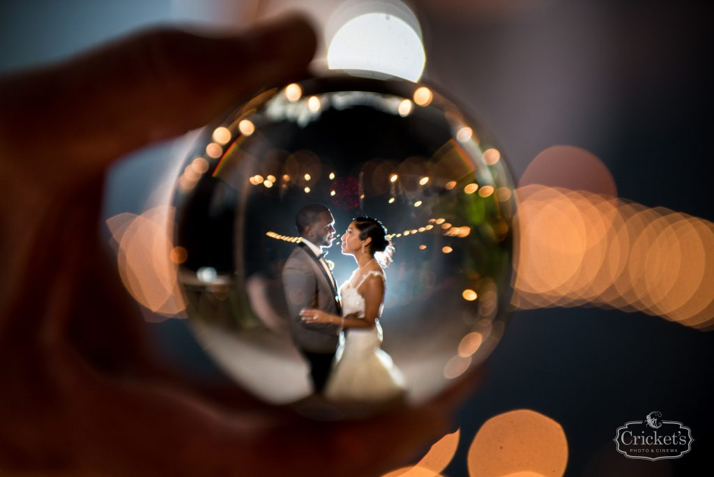 Bride & Groom Crystal Ball Stylized Photo | Classic Pink & White Beach Wedding Paradise Cove Lakeside Orlando Anna Christine Events Cricket's Photography