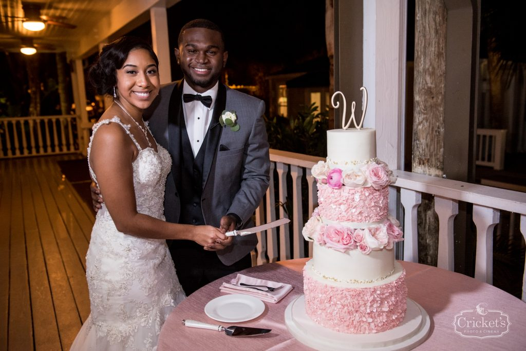 Cutting the Cake Reception Sprinkles Custom Cakes | Classic Pink & White Beach Wedding Paradise Cove Lakeside Orlando Anna Christine Events Cricket's Photography