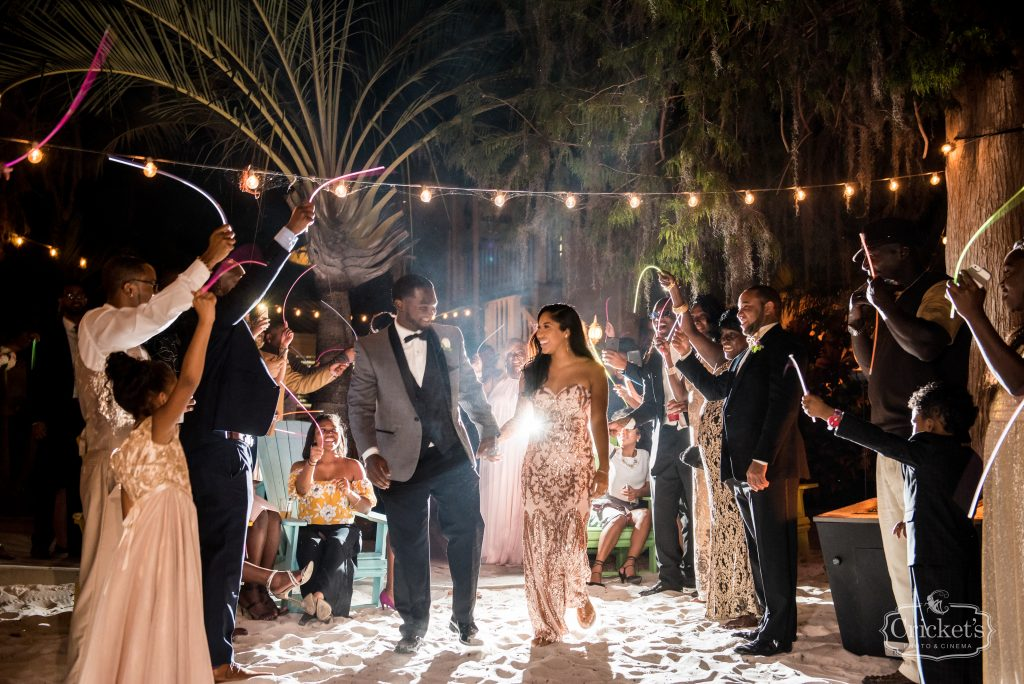 Bride & Groom Grand Exit Glowsticks | Classic Pink & White Beach Wedding Paradise Cove Lakeside Orlando Anna Christine Events Cricket's Photography