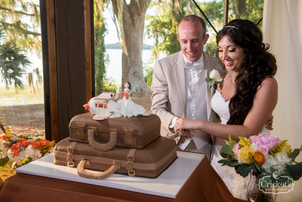 Cutting the Cake Suitcases | Travel Themed Inspired Wedding Mission Inn Resort Orlando Florida Anna Christine Events Cricket's Photo & Cinema