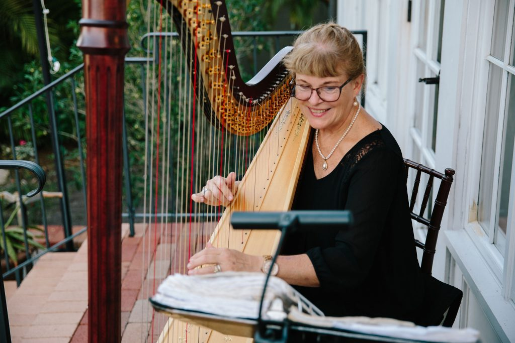 Harpist at Reception | Romantic Red & White Capen House Wedding Geometric Gold Anna Christine Events J Lebron Photography