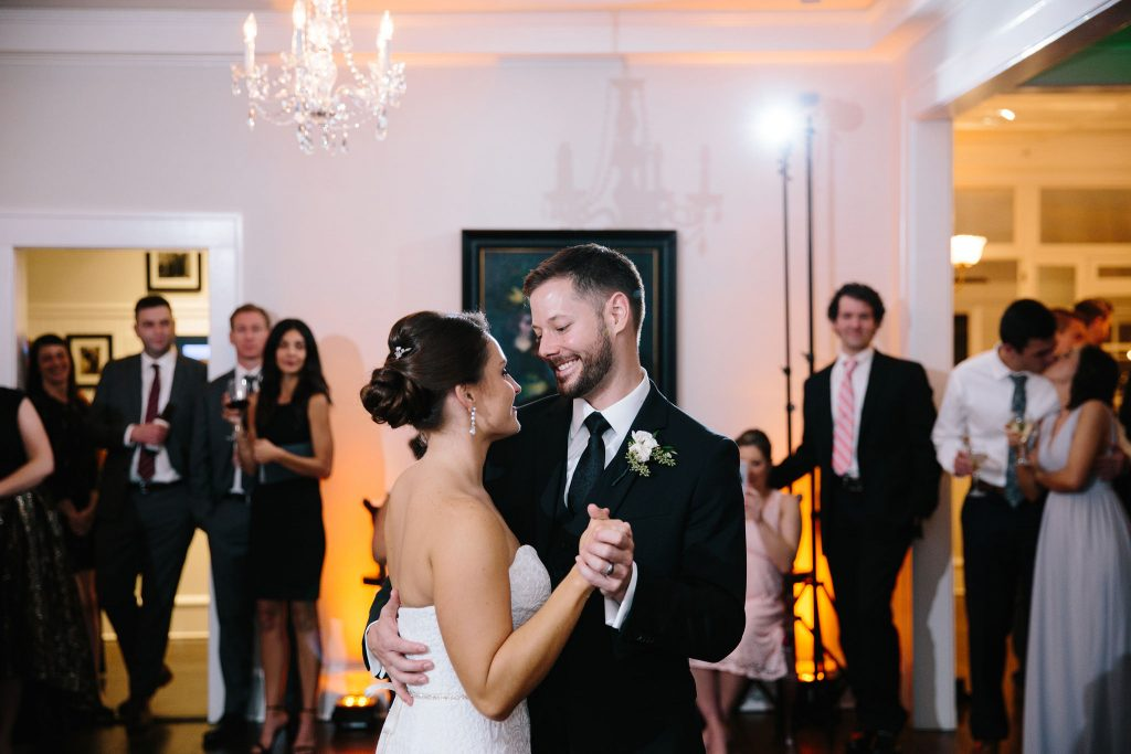 Bride & Groom First Dance Reception | Romantic Red & White Capen House Wedding Geometric Gold Anna Christine Events J Lebron Photography