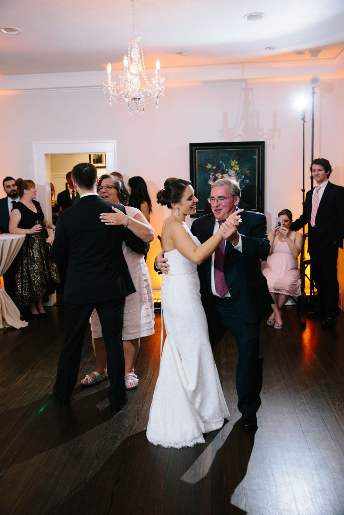 Parent Dances Mother-Son Father-Daughter | Romantic Red & White Capen House Wedding Geometric Gold Anna Christine Events J Lebron Photography
