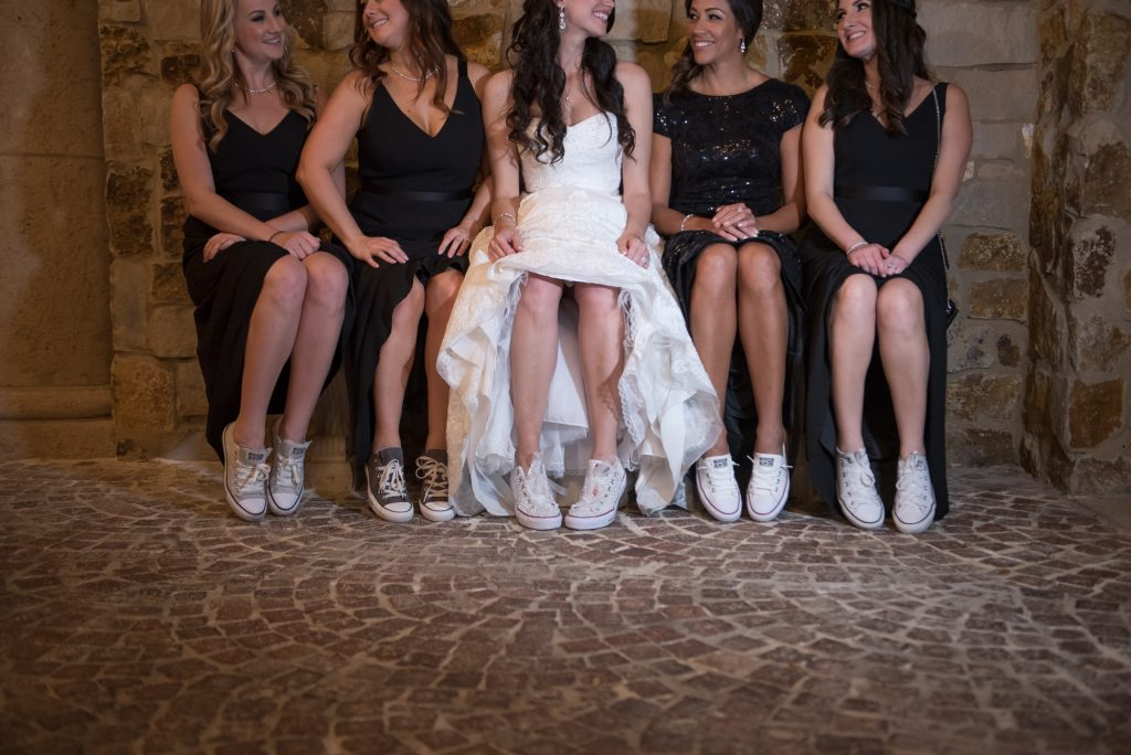 Bride & bridesmaids Converse sneakers | Classic Pink and White Wedding Bella Collina Kathy Thomas Photography Anna Christine Events