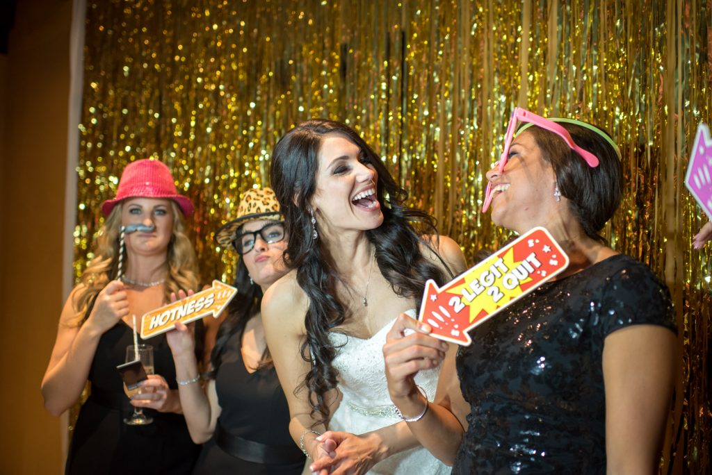 Photobooth Rocks props reception | Classic Pink and White Wedding Bella Collina Kathy Thomas Photography Anna Christine Events