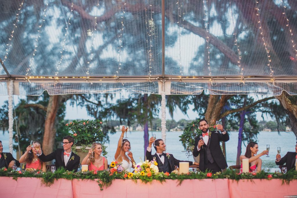 Toasts | Bright Backyard Wedding Colorful Lora Rodgers Photography Anna Christine Events