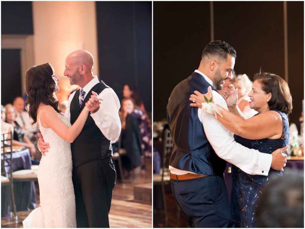 Parent dances at reception | Classic Purple & White Wedding Photography Noah's Event Venue Orlando Florida Anna Christine Events Wedding Planner Jessica Leigh