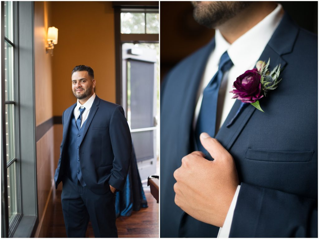 Groom getting ready boutonniere | Classic Purple & White Wedding Photography Noah's Event Venue Orlando Florida Anna Christine Events Wedding Planner Jessica Leigh