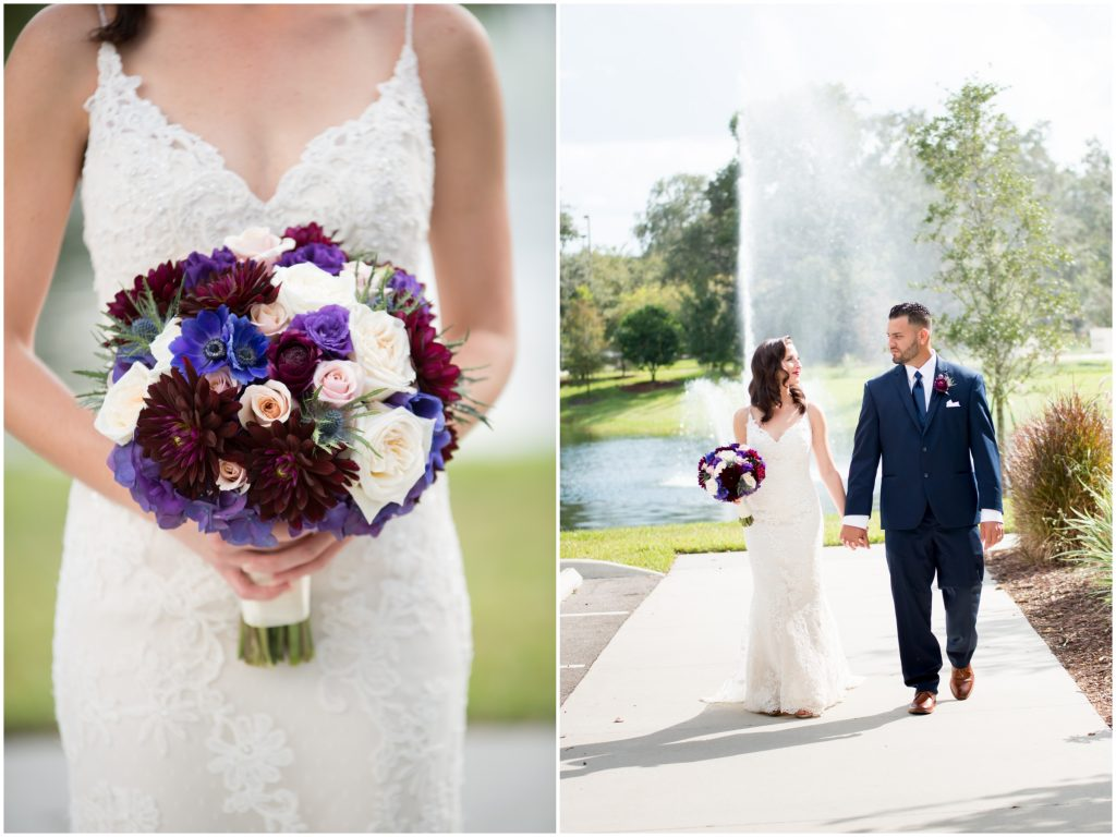 Bride & groom first look bouquet Flowers by Lesley | Classic Purple & White Wedding Photography Noah's Event Venue Orlando Florida Anna Christine Events Wedding Planner Jessica Leigh
