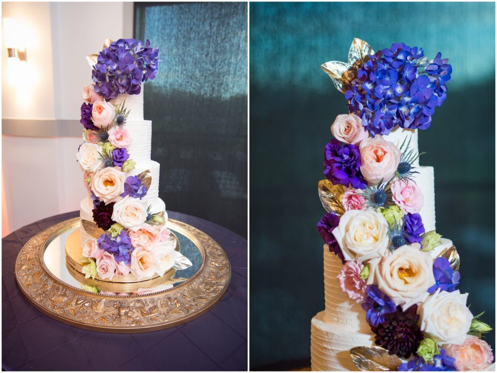 Wedding cake with floral decoration | Classic Purple & White Wedding Photography Noah's Event Venue Orlando Florida Anna Christine Events Wedding Planner Jessica Leigh
