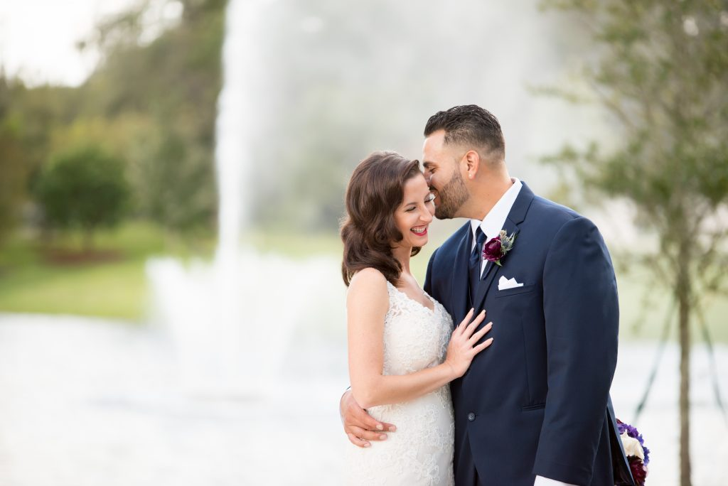 Bride & groom first look | Classic Purple & White Wedding Photography Noah's Event Venue Orlando Florida Anna Christine Events Wedding Planner Jessica Leigh