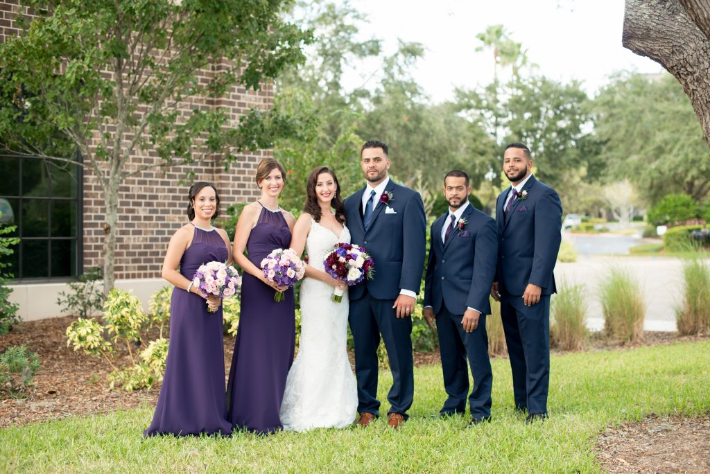Wedding party first look | Classic Purple & White Wedding Photography Noah's Event Venue Orlando Florida Anna Christine Events Wedding Planner Jessica Leigh