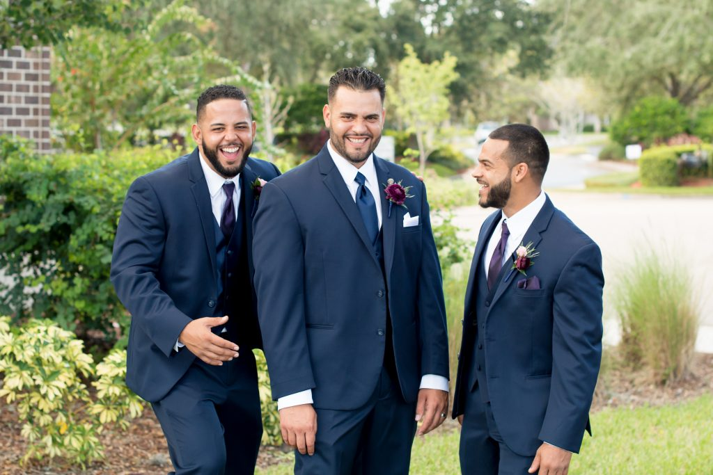 Groom & groomsmen first look | Classic Purple & White Wedding Photography Noah's Event Venue Orlando Florida Anna Christine Events Wedding Planner Jessica Leigh