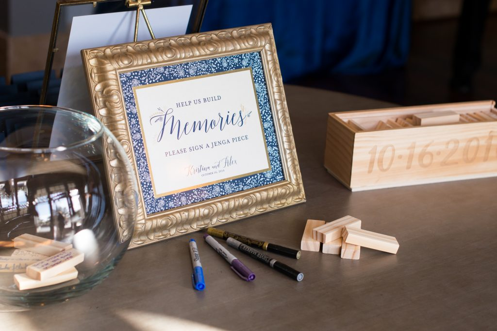 Share memories on Jenga blocks | Classic Purple & White Wedding Photography Noah's Event Venue Orlando Florida Anna Christine Events Wedding Planner Jessica Leigh