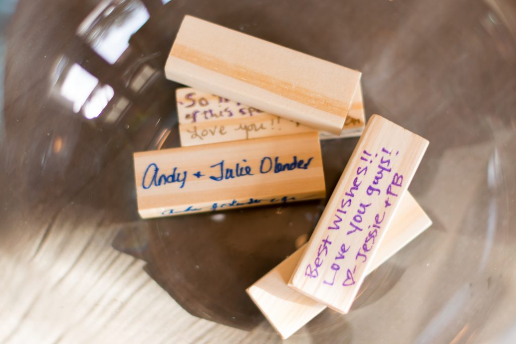 Guest book memories on Jenga blocks | Classic Purple & White Wedding Photography Noah's Event Venue Orlando Florida Anna Christine Events Wedding Planner Jessica Leigh