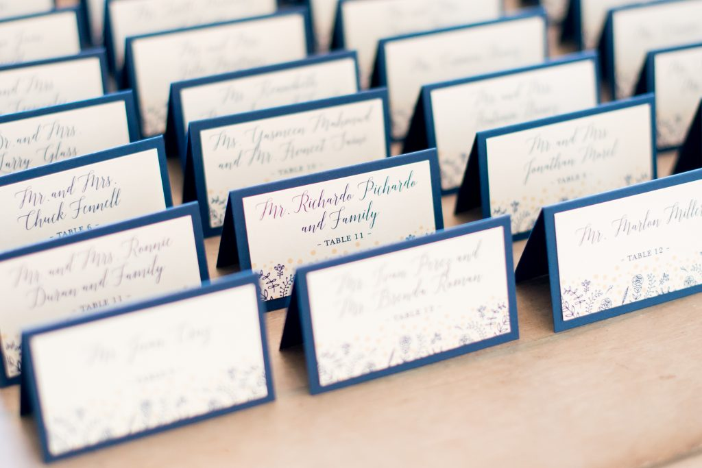 Place cards | Classic Purple & White Wedding Photography Noah's Event Venue Orlando Florida Anna Christine Events Wedding Planner Jessica Leigh