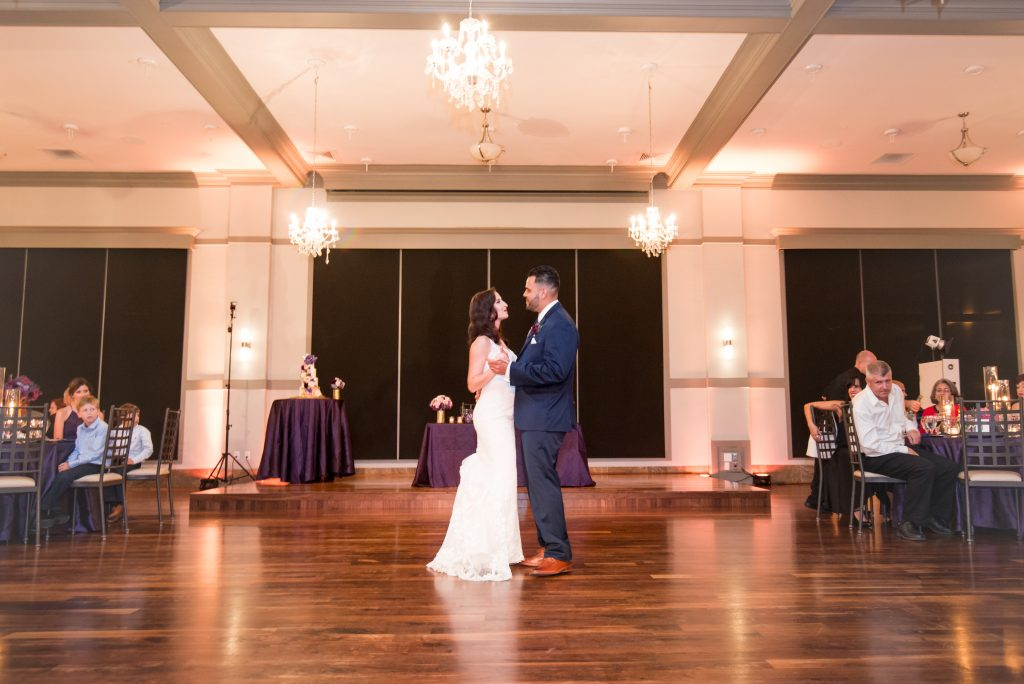 Bride & groom first dance | Classic Purple & White Wedding Photography Noah's Event Venue Orlando Florida Anna Christine Events Wedding Planner Jessica Leigh