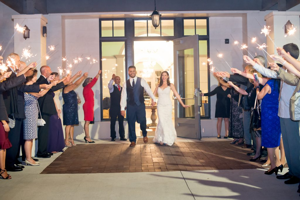 Bride & groom sparkler exit | Classic Purple & White Wedding Photography Noah's Event Venue Orlando Florida Anna Christine Events Wedding Planner Jessica Leigh