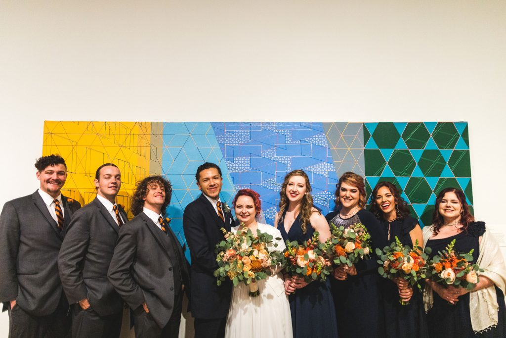 Fun Florida Orange Wedding Colorful Orlando Museum of Art Orlando Wedding Planner Anna Christine Events
